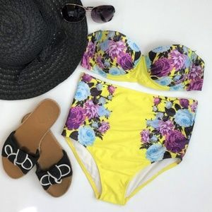 Yellow Floral High Waisted Bikini Sz M